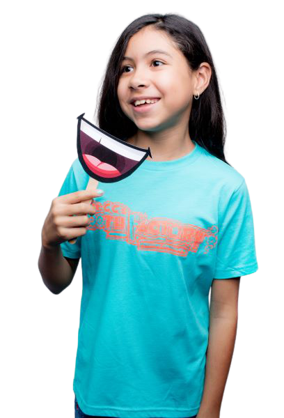 Girl in blue shirt with smile sign